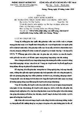 Sáng kiến kinh nghiệm Một số biện pháp nâng cao chất lượng sinh hoạt tổ chuyên môn trong trường mầm non Hương Phong