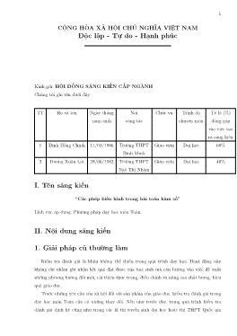 Sáng kiến kinh nghiệm Các phép biến hình trong bài toán hàm số và đồ thị