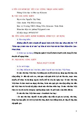"""Sáng kiến kinh nghiệm Hướng dẫn tổ chức Chuyên đề ngoại khóa môn Giáo dục công dân lớp 7 về """"Giáo dục ý thức bảo vệ di sản"""" tại Khu di tích Nhà thờ đá Phát Diệm-Kim Sơn-Ninh Bình"""